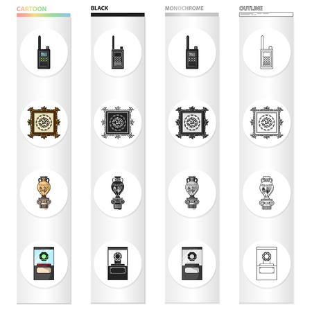 Geschiedenis, attributen, toerisme en ander pictogram in cartoonstijl. Cap, glas, bescherming, pictogrammen in set collectie.