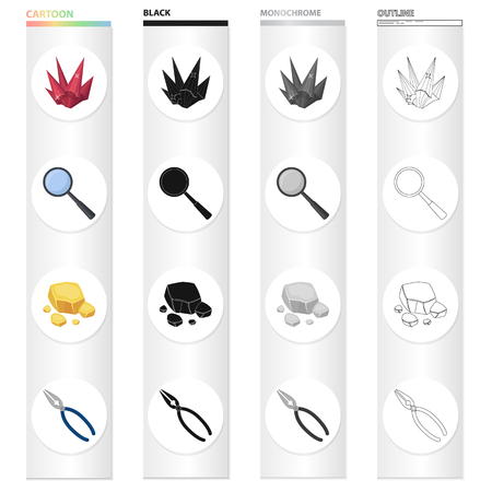 Ruby is a precious mineral, a magnifying glass, a piece of rock, jewelry pincers. Precious mineral set collection icons in cartoon black monochrome outline style vector symbol stock illustration .  イラスト・ベクター素材