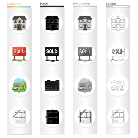 Building, architecture, office, and other  icon in cartoon style. Realtor, signboard, stand icons in set collection.