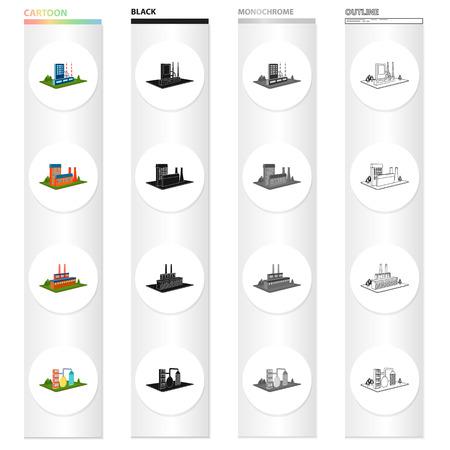 Unternehmen, Organisation, Unternehmen und andere Symbol im Cartoon-Stil. Architektur-, Hersteller-, Betriebsikonen in der Satzsammlung. Standard-Bild - 93810437