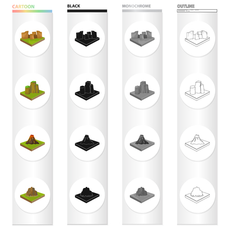 Mountain, hill, plain, and other  icon in cartoon style. Ecology, relief, mount icons in set collection. Foto de archivo - 93810319