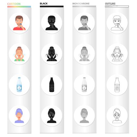 Hygiëne, medicijnen, cosmetica en andere icoon in cartoon-stijl. Uitslag, acne, procedures, pictogrammen in set collectie. Stock Illustratie
