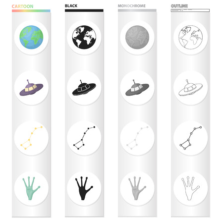 Universe, science, research and other  icon in cartoon style. Hand, unknown, apparatus, icons in set collection.