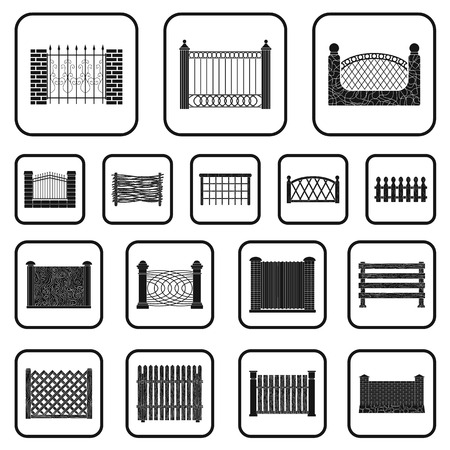 Different fence black icons in set collection for design.Decorative fencing vector symbol stock web illustration.