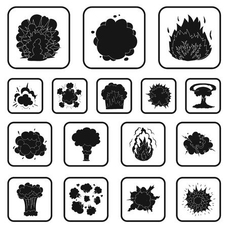 Different explosions black icons in set collection for design.Flash and flame vector symbol stock illustration.