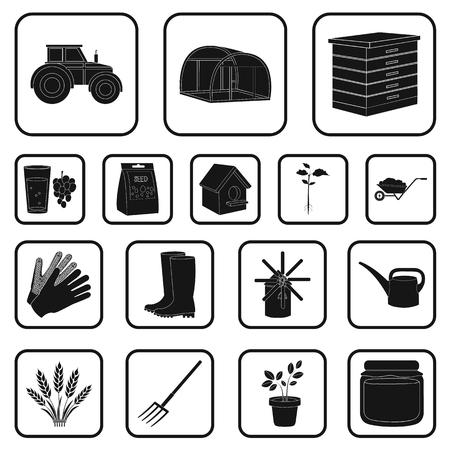 Boerderij en tuinieren zwarte pictogrammen in set collectie voor design. Boerderij en apparatuur vector symbool stock web illustratie.