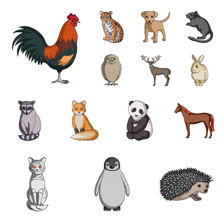 Realistic animals cartoon icons in set collection for design. Wild and domestic animals vector symbol stock  illustration.