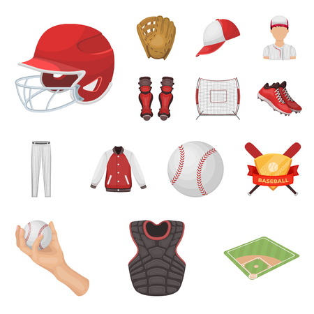 Set of baseball and attributes cartoon icons.