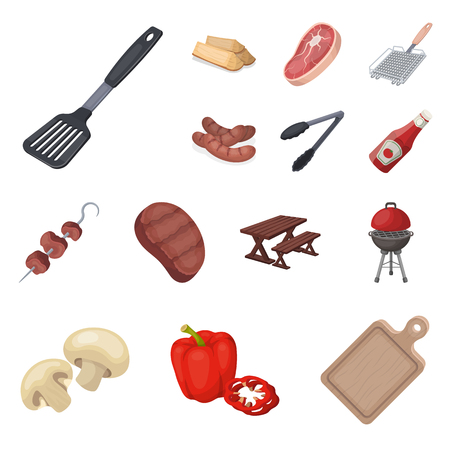Set of barbecue and equipment cartoon icons illustration. Illustration