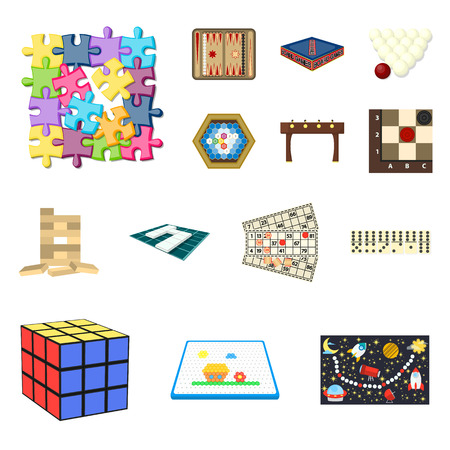 Board game cartoon icons in set collection for design. Game and entertainment vector symbol stock web illustration.