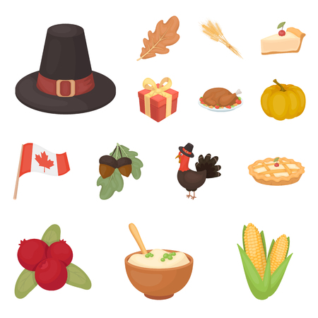 Canada Thanksgiving Day cartoon icons in set collection for design. Canada and Tradition vector symbol stock  illustration. Illustration