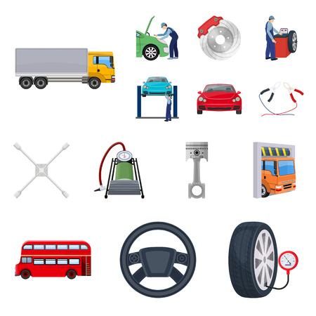 Icônes de dessin animé de voiture, ascenseur, pompe et autres équipements dans la collection de jeux pour la conception. Illustration de stock de voiture entretien station vecteur symbole Vecteurs