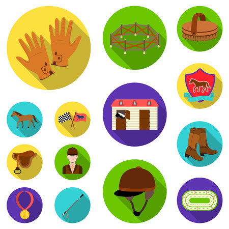Hippodrome and horse flat icons in set collection for design. Horse Racing and Equipment vector symbol stock  illustration. 일러스트