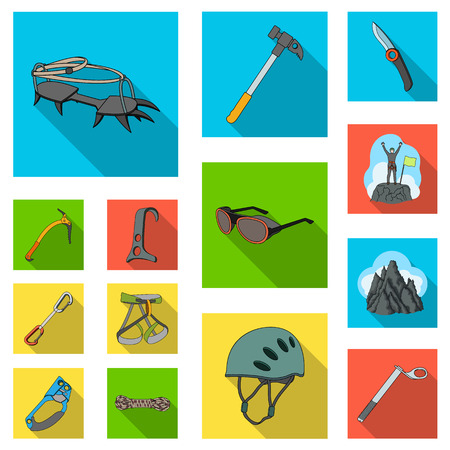 Mountaineering and climbing flat icons in set collection for design. Equipment and accessories vector symbol stock web illustration. Vettoriali
