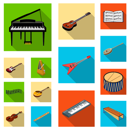 Musical instrument flat icons in set collection for design. String and Wind instrument isometric vector symbol stock illustration.