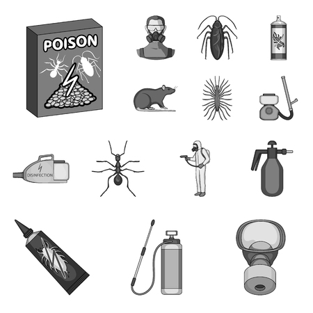 Pest, poison, personnel and equipment monochrome icons in set collection for design. Pest control service vector symbol stock web illustration.