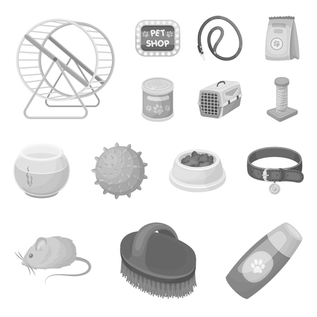 Pet shop monochrome icons in set collection for design.The goods for animals vector symbol stock web illustration.