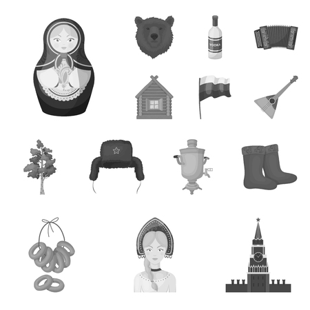 Country Russia travel icons in set collection