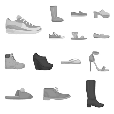 A variety of shoes monochrome icons in set collection for design. Boot, sneakers vector symbol stock web illustration. Illustration