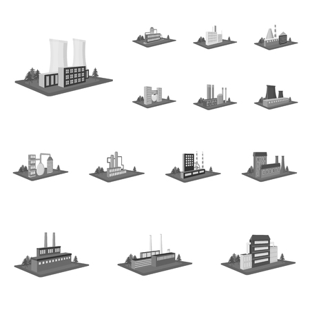 Factory and plant monochrome icons in set collection for design. Production and enterprise vector isometric symbol stock  illustration.