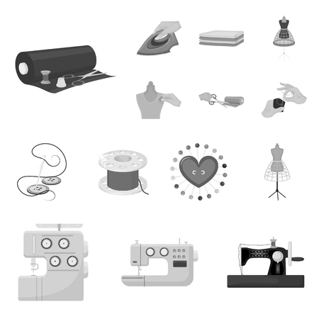Atelier and equipment monochrome icons in set collection for design. Sewing of outer clothing vector symbol stock web illustration.
