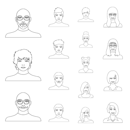 Avatar and face outline icons in set collection for design. A persons appearance vector symbol stock web illustration. Çizim