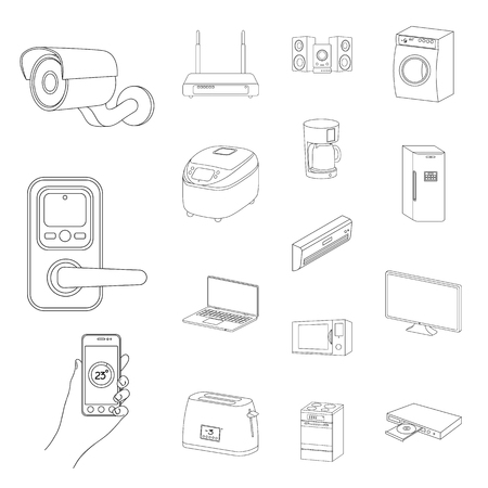 Smart home appliances outline icons in set collection for design. Modern household appliances vector symbol stock web illustration.