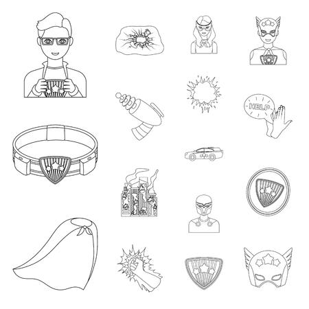 환상적인 슈퍼 히어로는 디자인에 대 한 설정 컬렉션에서 아이콘 개요. Superheros 장비 벡터 기호 재고 웹 일러스트입니다.