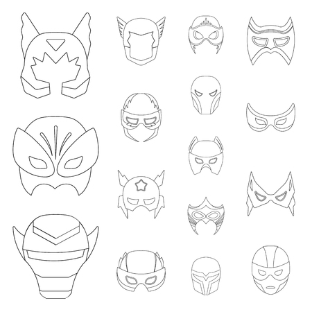 Carnival mask outline icons in set collection for design.Mask on the eyes and face vector symbol stock  illustration. Ilustração