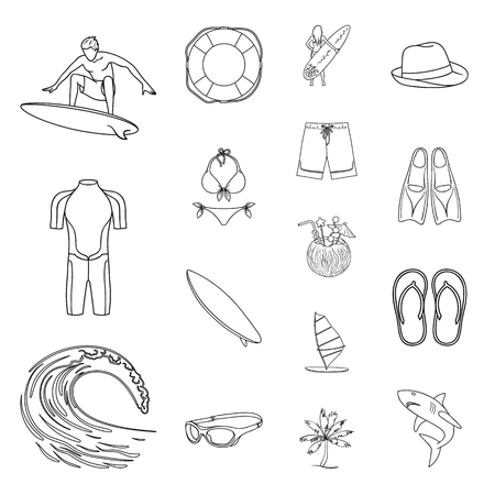 Surfing and extreme outline icons in set collection for design. Surfer and accessories vector symbol stock web illustration.