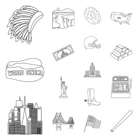 USA country outline icons set