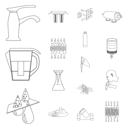 Water filtration system outline icons in set collection for design. .