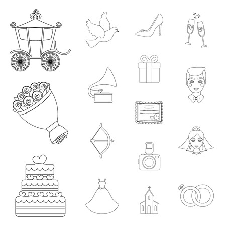 Wedding and Attributes outline icons in set collection for design.Newlyweds and Accessories vector symbol stock web illustration. Иллюстрация