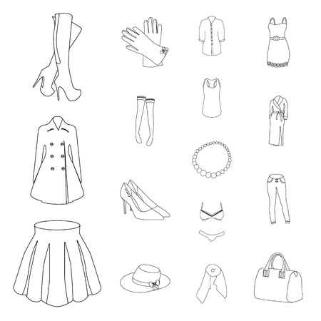 Womens Clothing outline icons in set collection for design.Clothing Varieties and Accessories vector symbol stock  illustration.