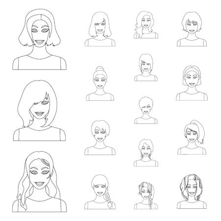 Types of female hairstyles outline icons in set collection for design. Appearance of a woman vector symbol stock illustration.