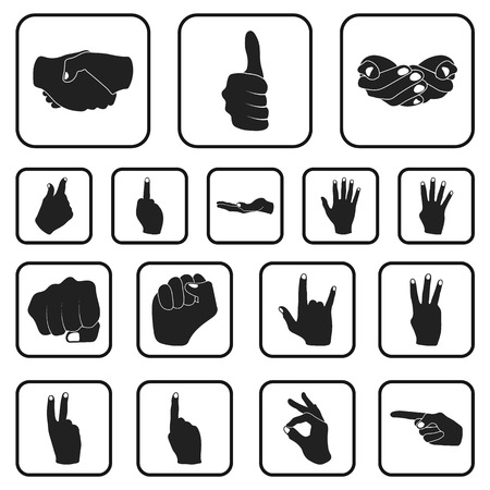 Hand gesture black icons in set collection for design. Palm and finger vector symbol stock web illustration.
