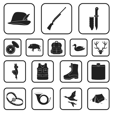 Hunting and trophy black icons in set collection for design. Hunting and equipment vector symbol stock  illustration. Çizim