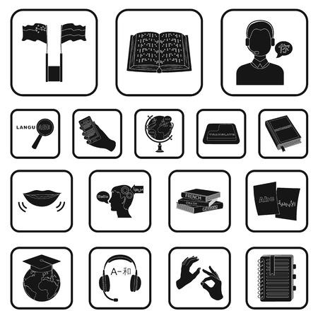 Translator and linguist black icons in set collection for design. Interpreter vector symbol stock web illustration.