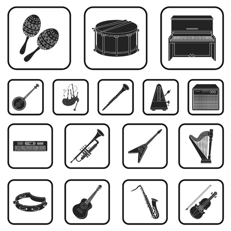 Musical instrument black icons in set collection for design. String and wind instrument vector symbol stock illustration. Illustration