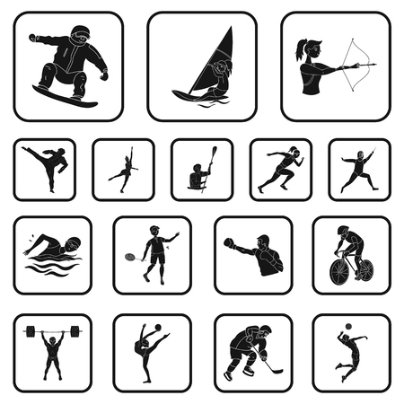 Different kinds of sports black icons in set collection for design. Athlete, competitions vector symbol stock web illustration.
