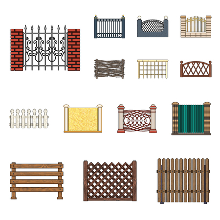 Different fence cartoon icons in set collection for design.Decorative fencing vector symbol stock web illustration. Illustration