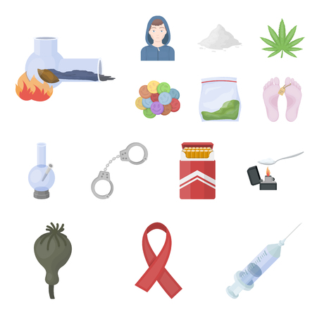 Drug addiction and attributes cartoon icons in set collection for design. Addict and drug vector symbol stock illustration. Illustration