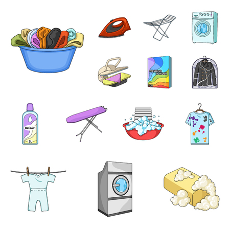 Dry cleaning equipment cartoon icons in set collection for design. Washing and ironing clothes vector symbol stock  illustration.