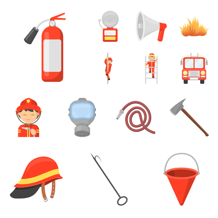 Fire Department cartoon icons in set collection for design. Firefighters and equipment vector symbol stock  illustration.