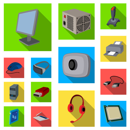 Personal computer flat icons in set collection for design. Equipment and accessories vector symbol stock web illustration. Иллюстрация