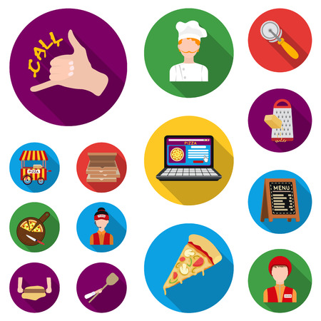 Pizza and pizzeria flat icons in set collection for design. Staff and equipment vector symbol stock illustration. Illustration
