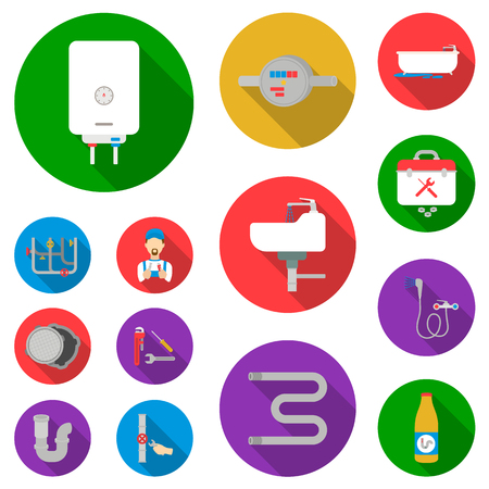 Plumbing, fitting flat icons in set collection for design. Equipment and tools vector symbol stock web illustration.
