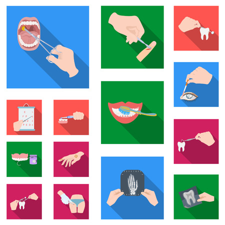 Manipulation by hands flat icons in set collection for design. Hand movement in medicine vector symbol stock web illustration. Illustration
