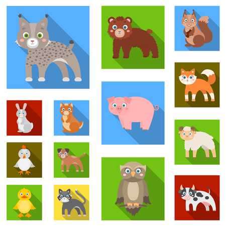 Toy animals flat icons in set collection for design. Bird, predator and herbivore vector symbol stock  illustration.