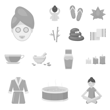 Spa salon and equipment monochrome icons in set collection for design. Relaxation and rest vector symbol stock web illustration.
